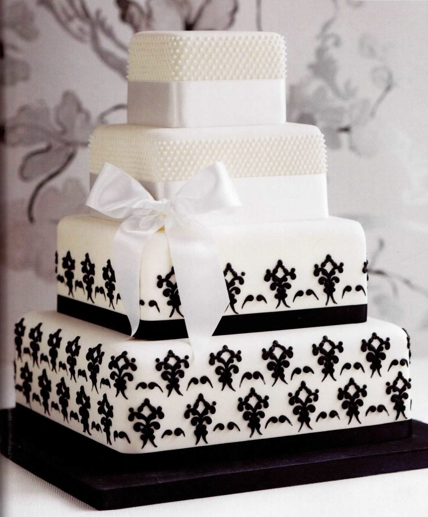 4-tier-ribbon-square-black-white-pattern