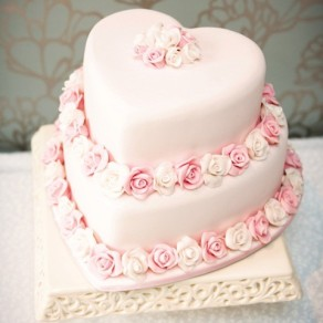 Rose Heart Wedding Cake
